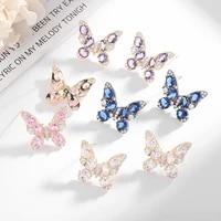 luxury full colorful 3a zircon butterfly stud earrings for women 925 silver jewelry temperament butterfly earrings party gift