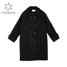 Vintage Double-Breasted Tweed Coat Women Long Korean Elegant Temperament Coats 2021 Fashion Winter N