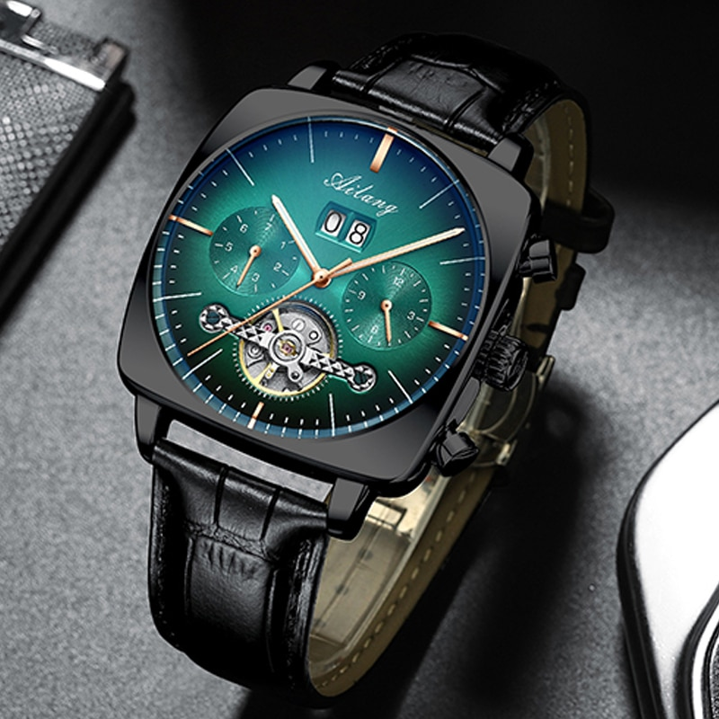 AILANG 2020 new watch men's automatic mechanical watch waterproof tourbillon black technology luminous fashion men's watch