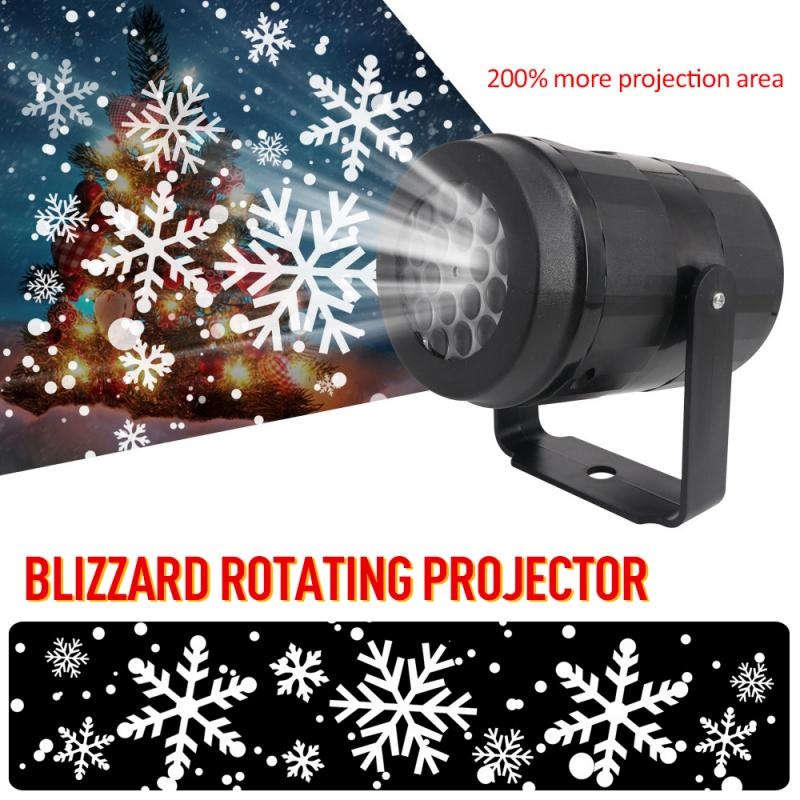 Outdoor Waterproof Christmas Snowflake LED Projector Home Party Decor Night Lamp Snow Light Decoration