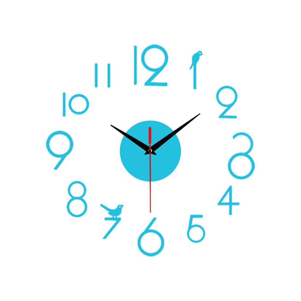 Reloj de pared silencioso 3D con adhesivo para superficie de espejo para decoración de oficina