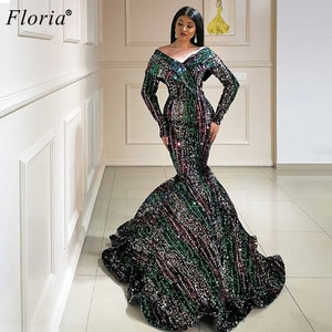 Special Sequins Evening Dresses Long Sleeves Formal Prom Dresses Women Party Night Turkish Couture Arabic Gowns Robe De Soiree