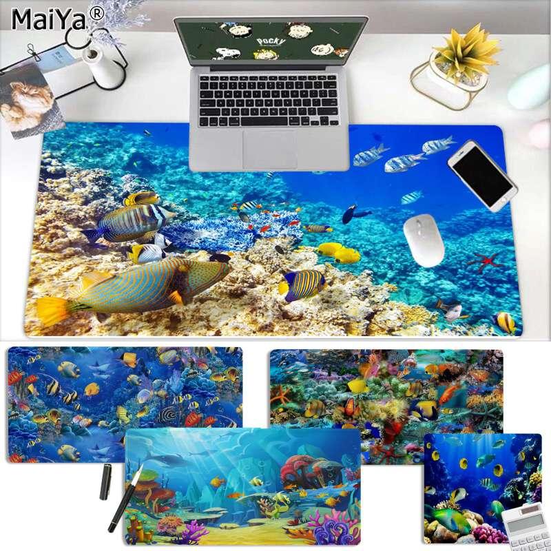 Maiya Arrecife de coral en el mar océano peces mundo submarino Borde de bloqueo alfombrilla de ratón para juegos Control versión grande de ratón de juego
