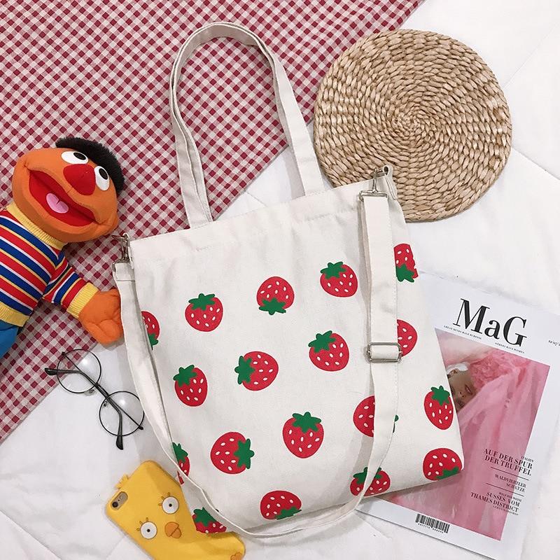 Bolso de lona para mujer, bolso para comprador ecológico, bolsa de hombro estampada con fresas de gran capacidad para mujer, bolso de mano plegable 2019 para mujer