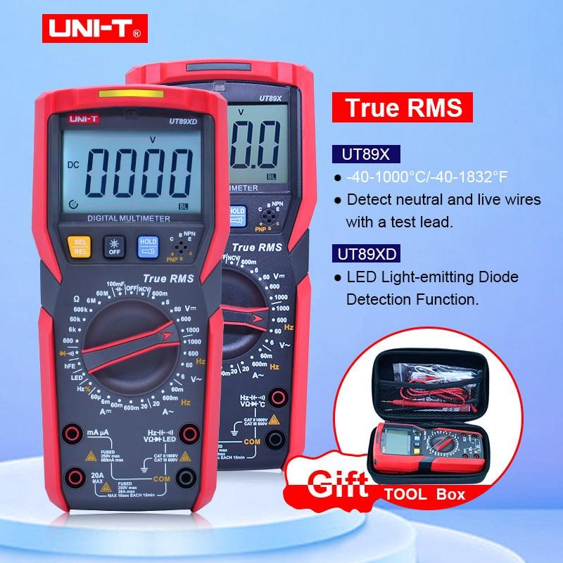 UNI-T UT89X/UT89XD con caja EVA, multímetro Digital de valores eficaces verdaderos 20A, NCV multímetro digital de alta corriente/condensador/temperatura/LED