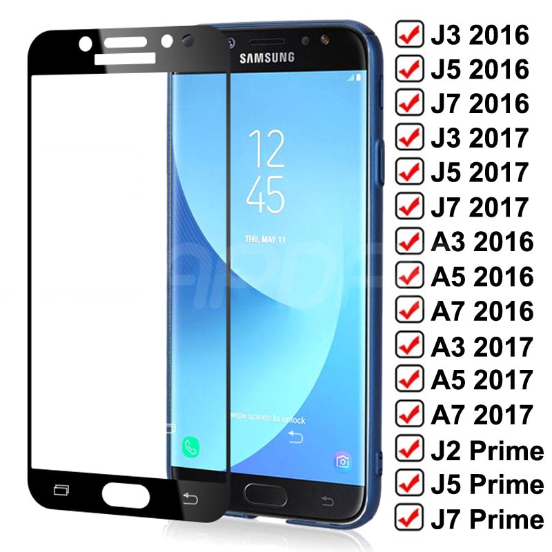 99D Tempered Glass on For Samsung Galaxy J3 J5 J7 A3 A5 A7 2016 2017 J2 J4 J7 Core J5 Prime S7 Scree