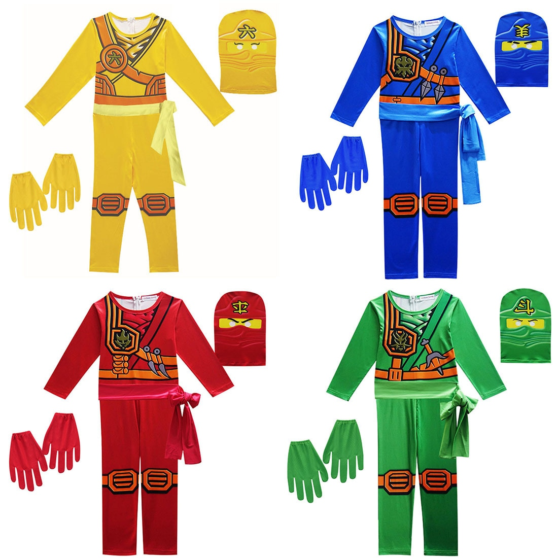 2020 NINJAGO Role cosplay Costume Halloween Boys Girls Jumpsuit Set Ninja Halloween Christmas funny Party clothing for boy