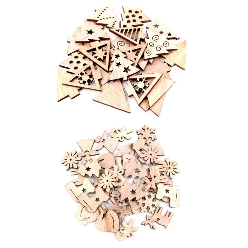 40 Uds. De madera árbol de Navidad adorno colgante Scrapbooking artesanía para adornos hechos a mano DIY artesanía hogar Decoración 30mm