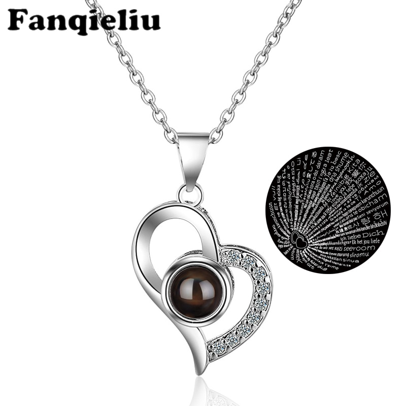Fanqieliu Lovly Heart Rhinestone Jewelry Micro Carving Projection One Hundred Languages I Love You Necklace For Women FQL20031