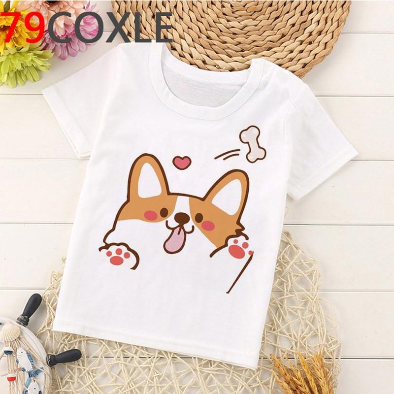 Camiseta Kawaii Corgi de verano para niños, camiseta con gráfico de perro divertido de dibujos animados, camiseta Unisex de manga corta para niños y niñas, camiseta informal para niños