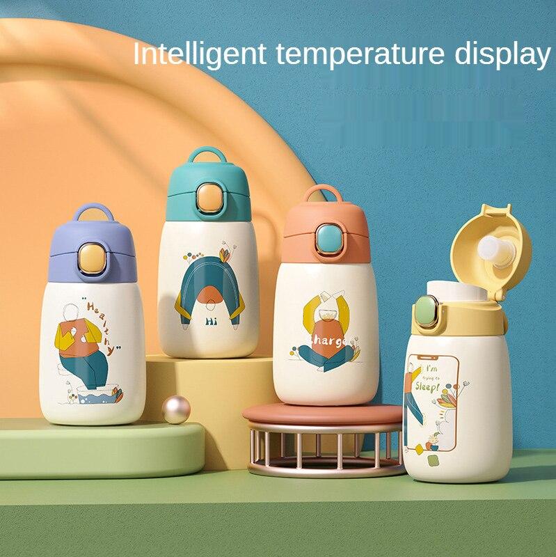 زجاجة المياه الذكية درجة الحرارة الاطفال الترمس القدح مع القش مكنسة من الفولاذ المقاوم للصدأ قوارير الأطفال لطيف الحرارية بهلوان الحرارية