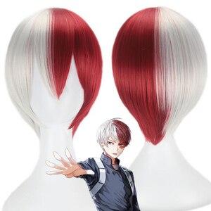 Мой герой Академия дневной свет косплей парик белый и красный короткий парик Boku no Hiro Akademia Искусственные парики + шапочка для парика
