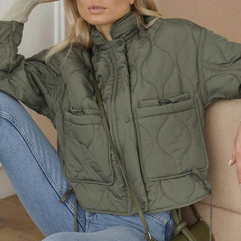 Женские демисезонные парки Fandy Lokar, модные короткие пальто на шнуровке, женские элегантные хлопковые куртки с воротником-стойкой для женщин
