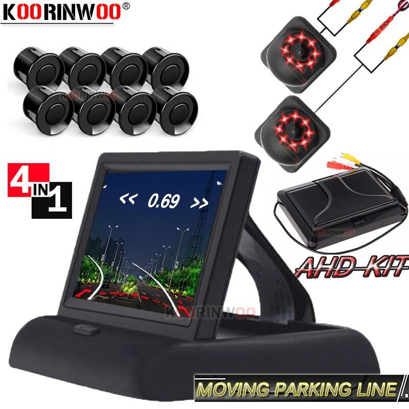 Cámara frontal Koorinwoo Cámara CCD de marcha atrás de coche, sensor de aparcamiento para automóvil 8 con pantalla de Monitor, Sensor trasero de coche, 8 espejos de cámara de marcha atrás
