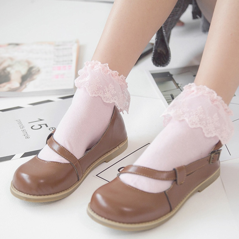 Retro Sweet Lace Frilly Ruffle Princess Sock Women Girls 2021 Spring Summer Trendy Pure Color Soft Breathable Cotton Ankle Socks