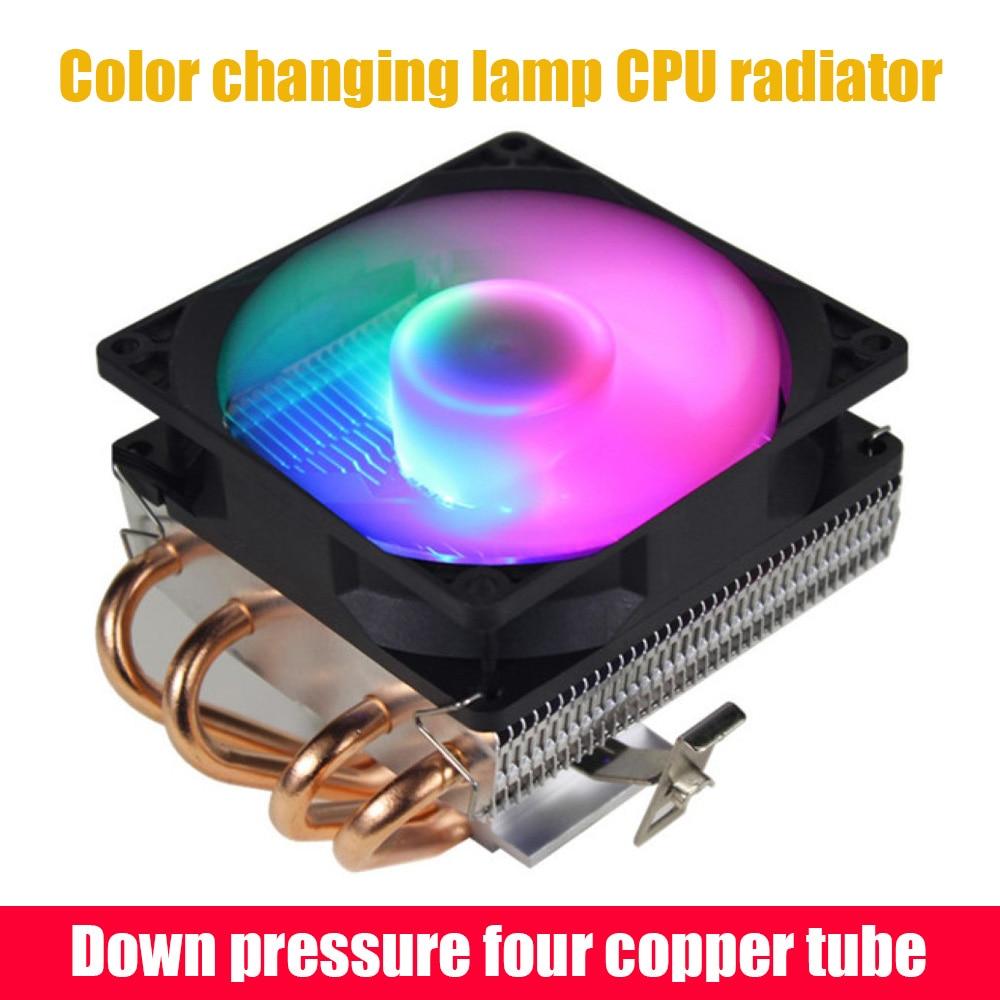 مروحة وحدة المعالجة المركزية 4 أنابيب النحاس أنبوب الحرارة 3Pin الكمبيوتر مروحة التبريد RGB LED نظام التبريد المبرد المبرد ل 775/1158 1366