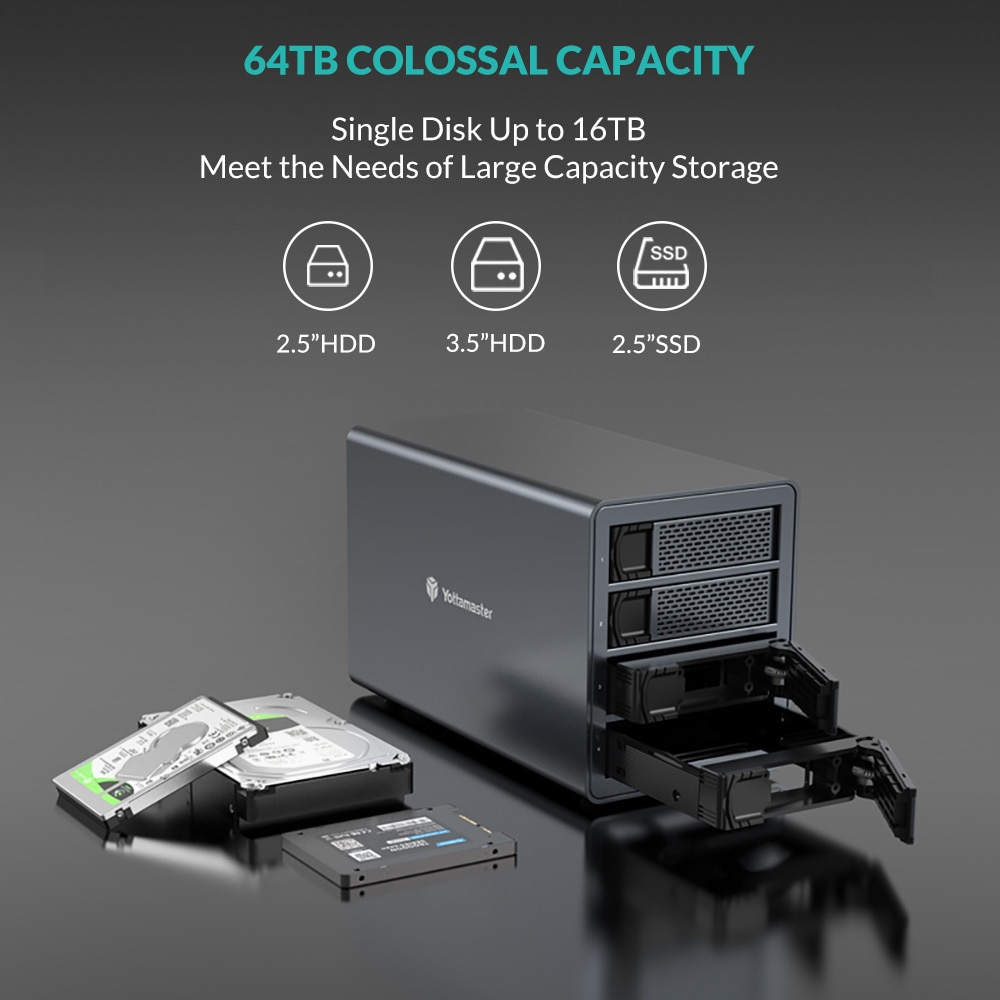 Yottamaster FS4C3 HDD SSD Case USB 3.1 Gen2 SATA HDD Type-C 10 Gbps Daisy Chain to 240TB SSD Hard Disk 4Bay Hard Drive Enclosure enlarge