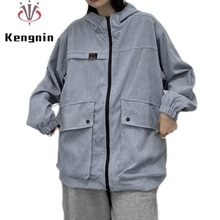 Autumn 2021 Winter New Hooded Women Jackets Loose Korean Ladies Basic Coats Corduroy Pockets Femlae