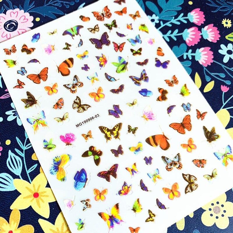 2020 MG190906-03 hermosa mariposa adhesivos para manicura 3d pegatina de uñas estampado exportación diseños japoneses diamantes de imitación
