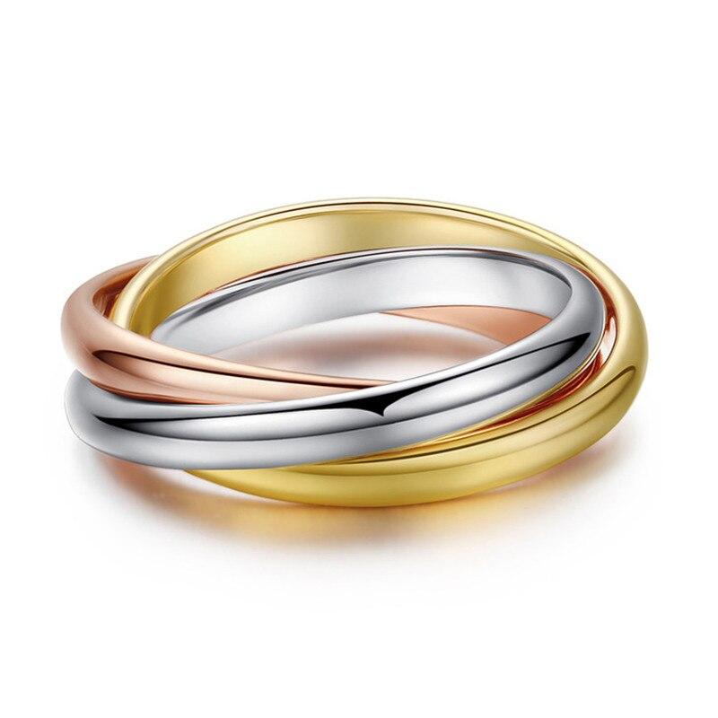 Ramos Classic 3 rondas juegos de anillos de acero inoxidable para mujer compromiso de boda joyería de dedo femenino
