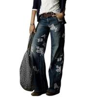 hot sales women denim pants high waist floral print wide leg trousers loose jeans for work
