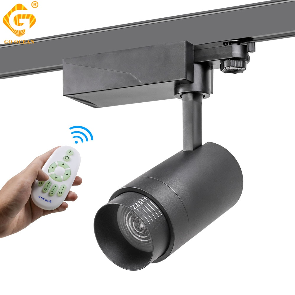 2.4G RF Wireless Control LED Track Light 20W Color Changeable Adjustable Ceiling Rail Spotlights Zoomable Lighting Fixture