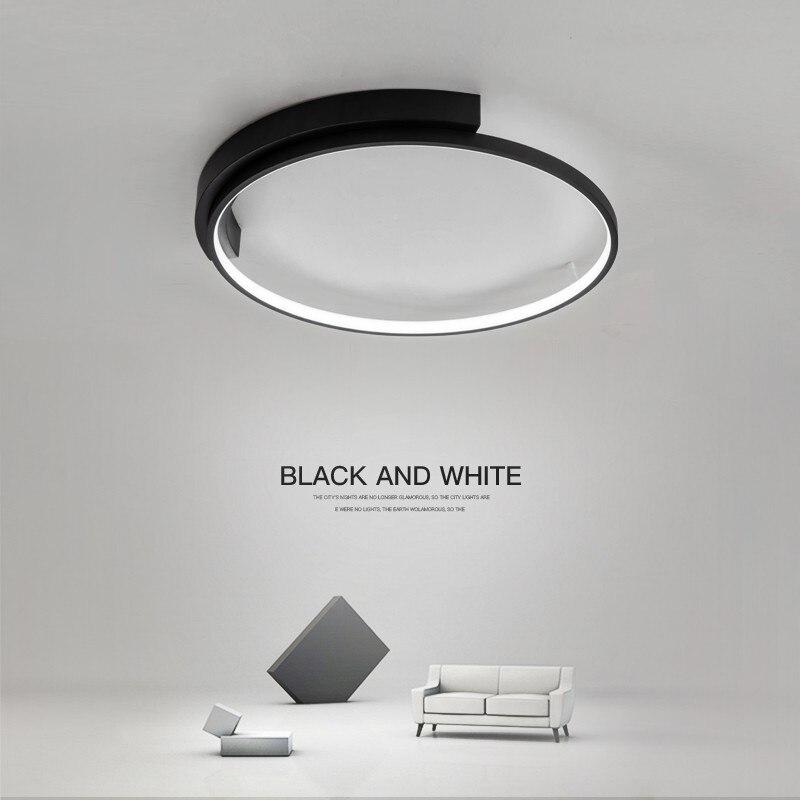 غرفة المعيشة الحديثة LED مصباح السقف الإضاءة الشمال الفن تصميم أبيض/أسود إضاءة سقفية دائرية الشكل غرفة نوم الطعام المنزل الإضاءة