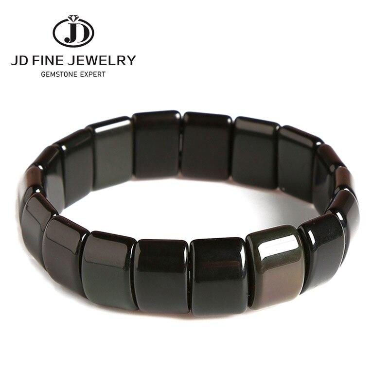 Pulseras y brazaletes de piedra obsidiana Natural pura JD joyería hecha a mano pulsera de energía enorme para mujeres o hombres 2020
