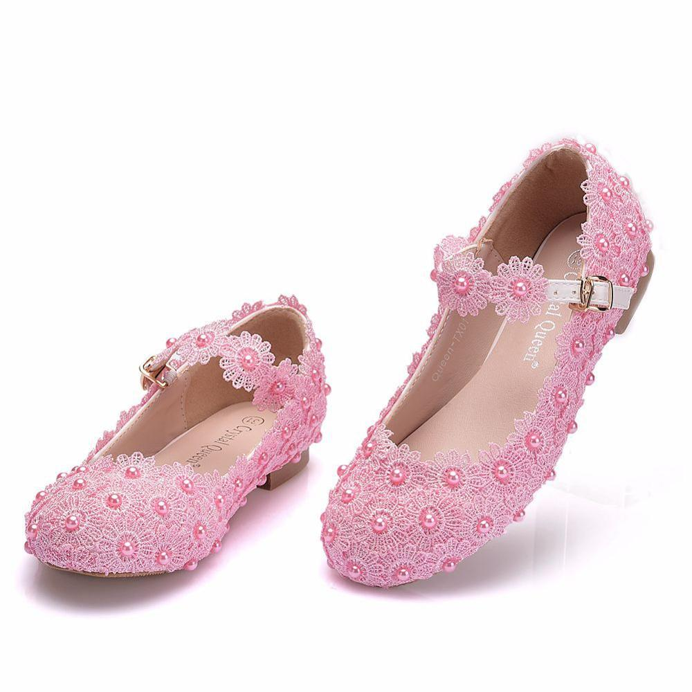 حذاء زفاف من الدانتيل باللون الأبيض والوردي للبنات ، حذاء أميرة عصري للأطفال ، للحفلات ، مزين بالزهور ، جديد لعام 2020