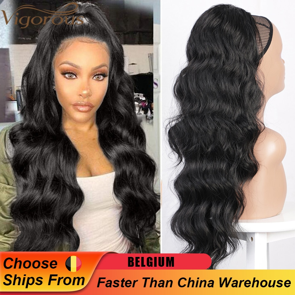 Vigorous Long Wavy Ponytail Hair Synthetic Drawstring Ponytail Clip in Hairpiece Black Wave Ponytail for Black Women