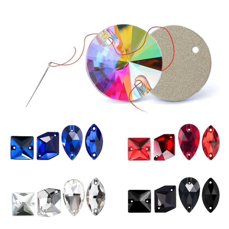 Стразы для шитья, разные формы, 20 штук, стеклянные стразы для шитья костюма, одежды, платья, сережек, пояса и обуви