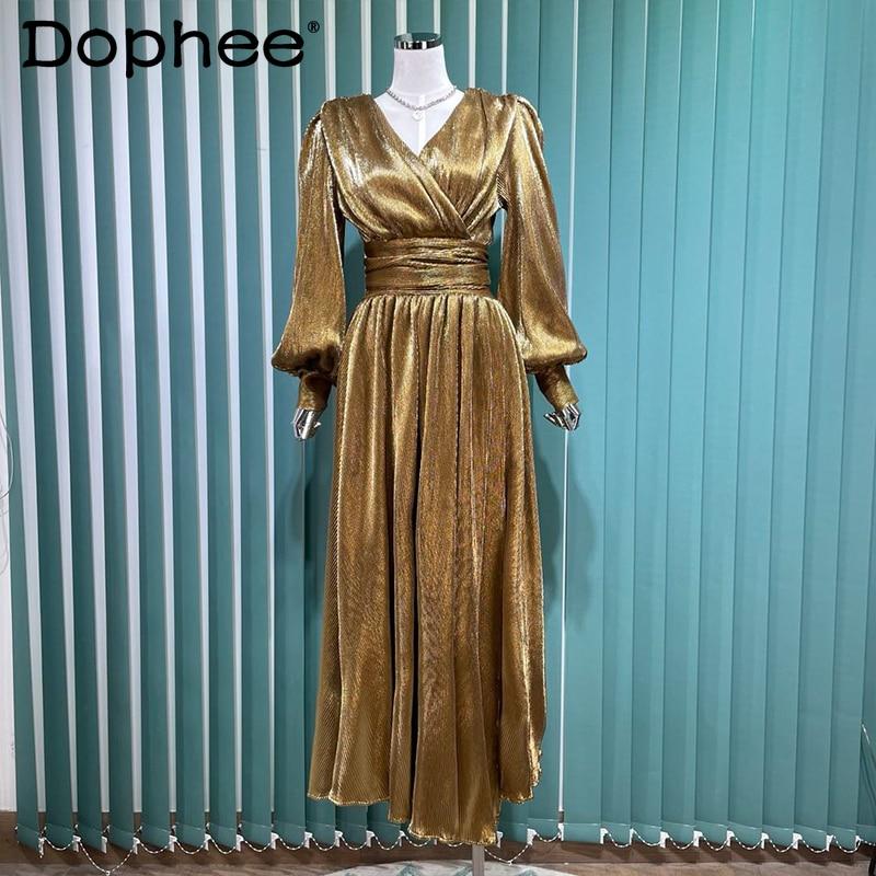 2021 ملابس الخريف الرجعية مشرق المخملية فستان المرأة مزاجه الخامس الرقبة طويلة الأكمام ضئيلة الخصر مطوي ماكسي فستان الحفلات Vestidos