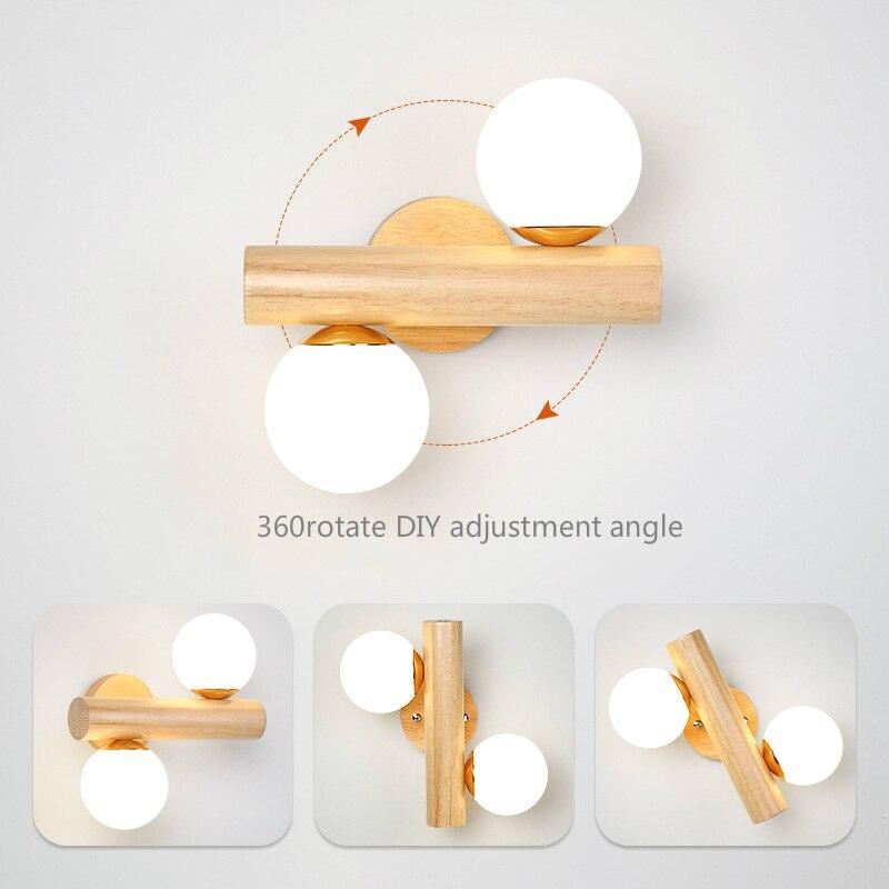 Modern Glass Ball LED Wall Lamp Wood Lighting Sconces Fixture Living Bedroom Bedside Restaurant Kitchen Indoor Home Decor Lights enlarge