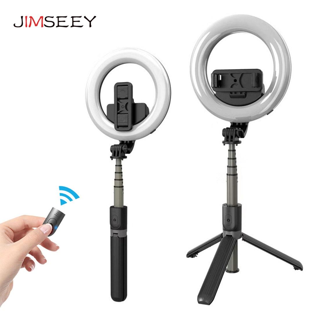 Портативная Bluetooth беспроводная селфи-палка со светодиодным кольцом заполняющая лампа для прямого вещания туристические штативы для iPhone ...