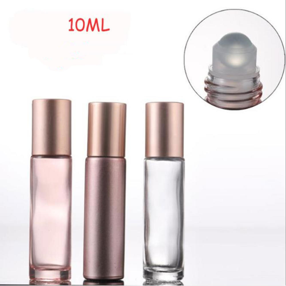 1 stücke 10ml Rose Gold Lip Gloss Ätherisches Öl Parfüm Flasche Roller Ball Make-Up Leere Nachfüllbare Behälter Rohr Fläschchen dropship