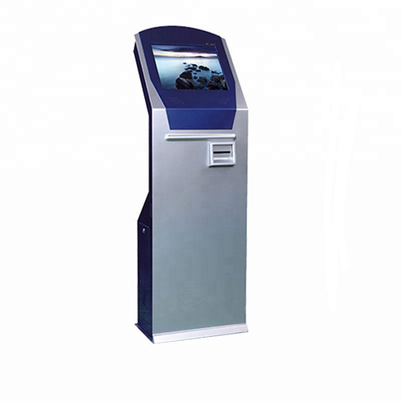 Quiosco de Información de autoservicio con pantalla táctil de pie de 17 pulgadas con lector de tarjetas, escáner de código de barras, impresora térmica para bancos
