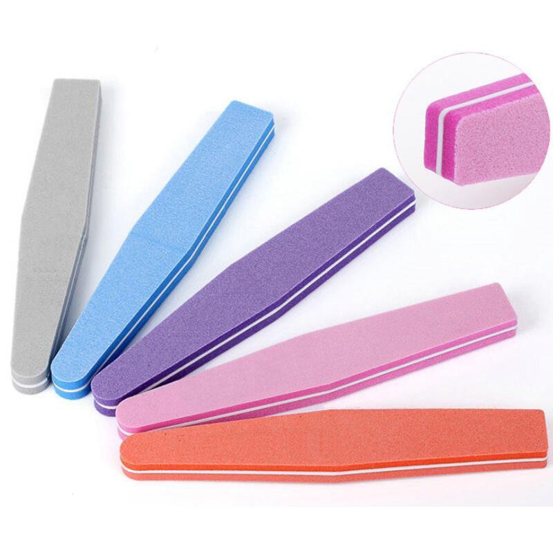 5 uds./10 Uds. Herramientas de arte de uñas en ángulo de amortiguación de Limas de doble cara 100/180, pulidora lima de uñas, esponja lavable