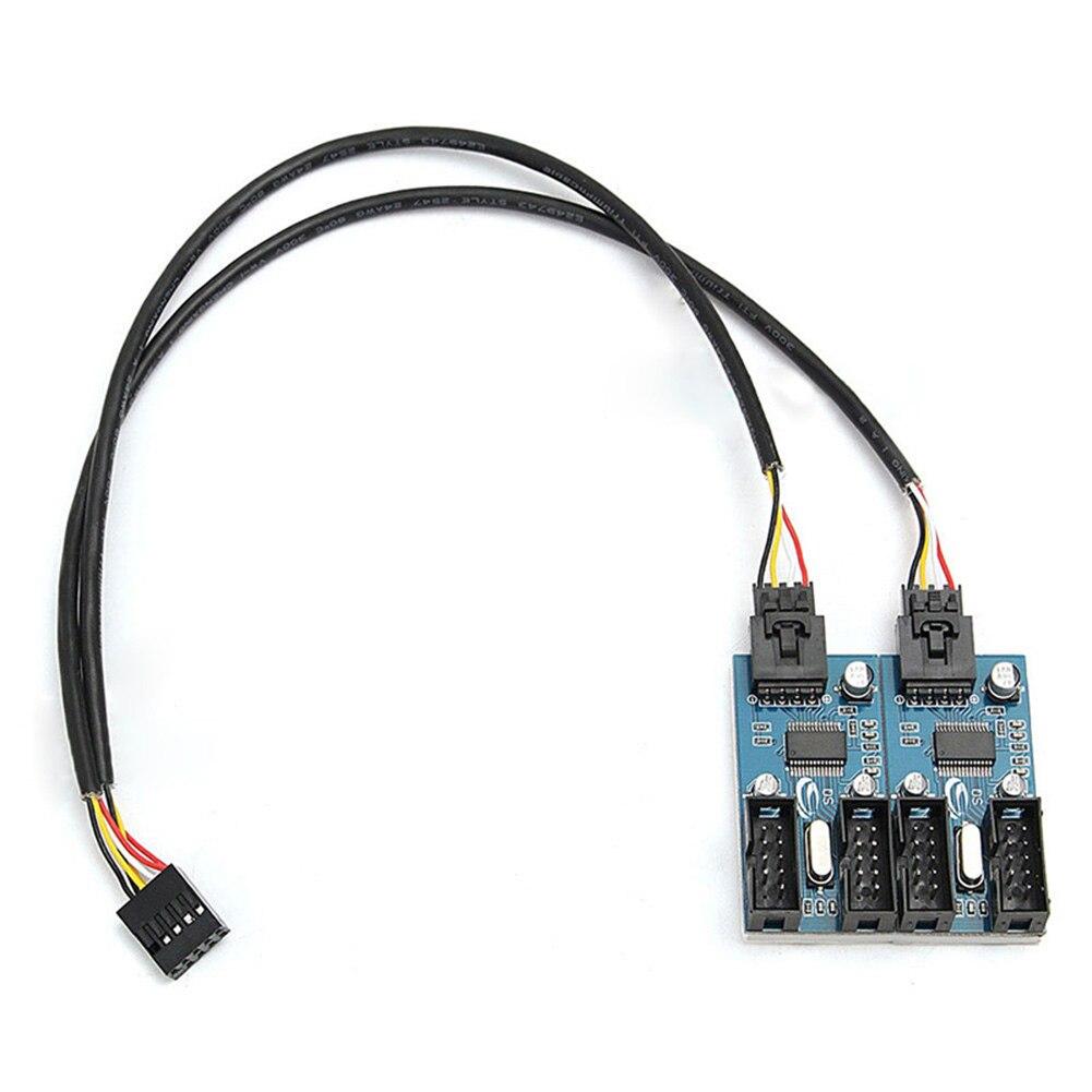 Conector USB de 9 pines macho 1 a 4 Cable prolongador hembra 9 P puerto USB 2,0 Puerto multiplicador HUB recién llegado
