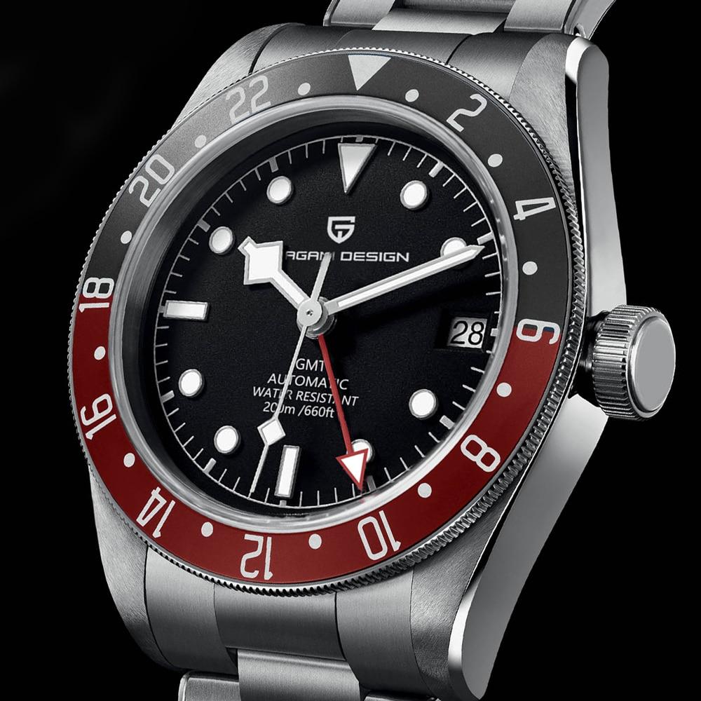 2021 تصميم جديد PAGANI 40 مللي متر BB58 GMT ساعة اليد الميكانيكية الرجال التلقائي ساعة الرجال العلامة التجارية الفاخرة الياقوت مرآة Reloj Hombre