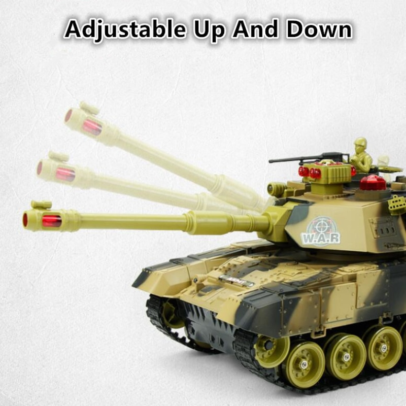 Remote Control Battle Tank RC 2.4G 44CM Can Launch Off-Road Simulation Shooting Sound Effects Tracked Remote Control Toy Car enlarge