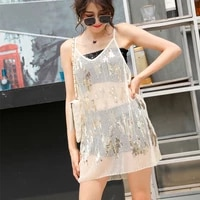 h80s90 new women sexy fashion embroidered sequin bead dress ladies v neck see through sleeveless dress female mini dress tops