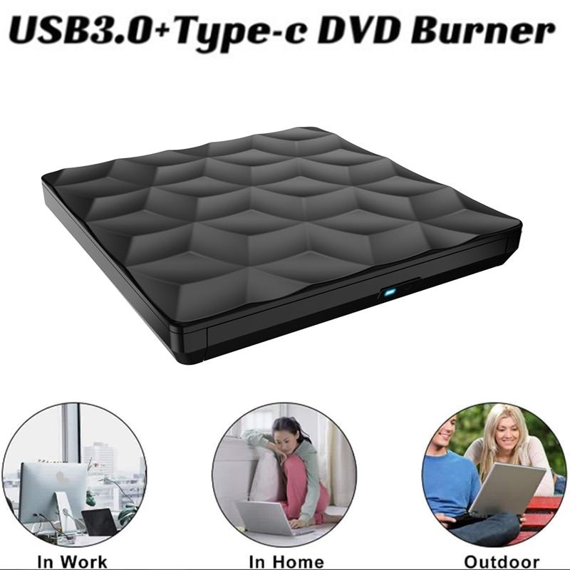 الخارجية CD DVD محرك USB 3.0 + TYPE-C CD DVD الموقد CD مشغل ديفيدي لأجهزة الكمبيوتر المحمول ماك سطح المكتب ماك OS Windows10/8/7