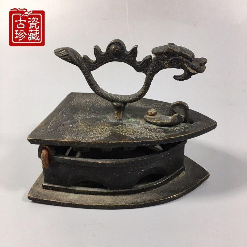 Colección de objetos antiguos de hierro plano de latón de dinastía Qing coleccionable, envío gratis