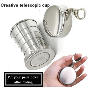 Foldable Camping Cup Portable Outdoor Collapsible Cup Retractable cup Stainless Steel Travel Hiking Mug Cups With Keychain