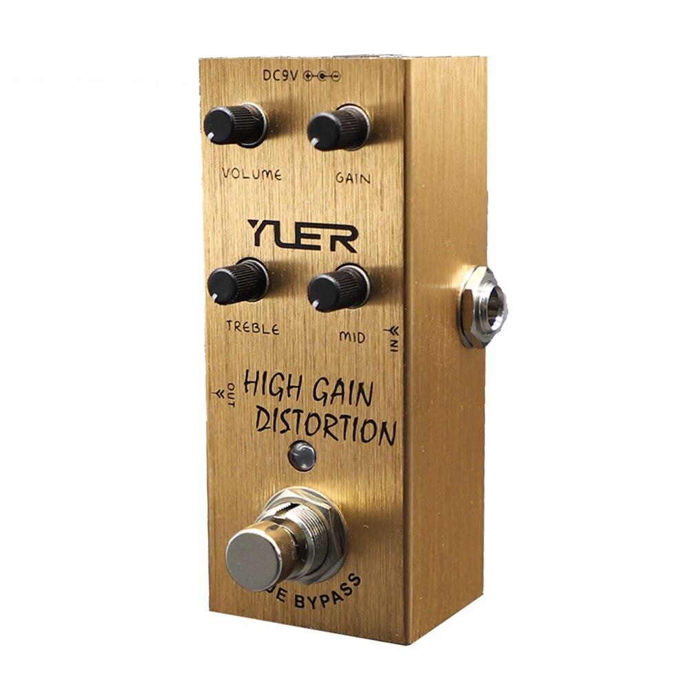Yuer تأثير الغيتار الكهربائي دواسة مكاسب عالية تشويه صحيح الالتفافية