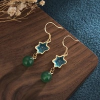jade earings earrings for women costume jewelry gold fashion copper plated 24k gold national style natural green cp25