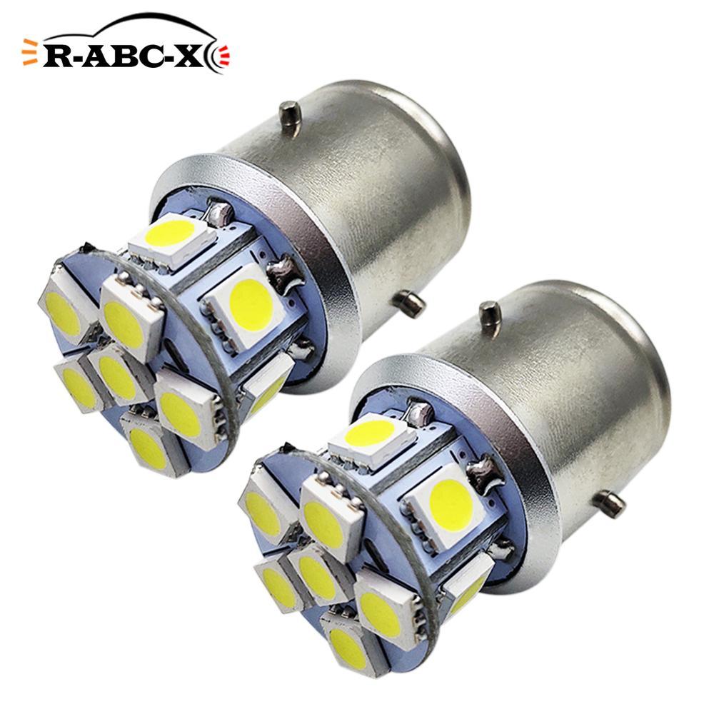 Светодиодная лампа для фар мотоциклов RUIANDSION, 2 шт., 12 дюймов, 5050SMD, BA21D, мопедов, скутеров, 6000 К, 6 в, 12 В, 24 В, неполярность, белый, желтый, 3000 К