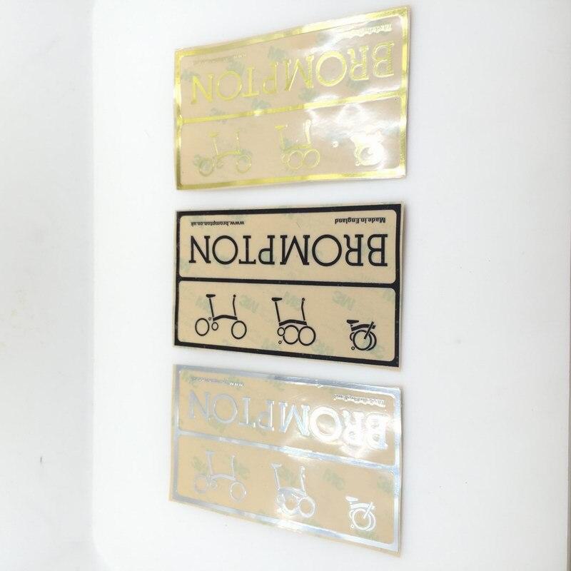 Etiqueta adhesiva de metal de bicicleta de 3 colores para bicicleta brompton marco decorativo adhesivos de plata y oro letra negra patrón
