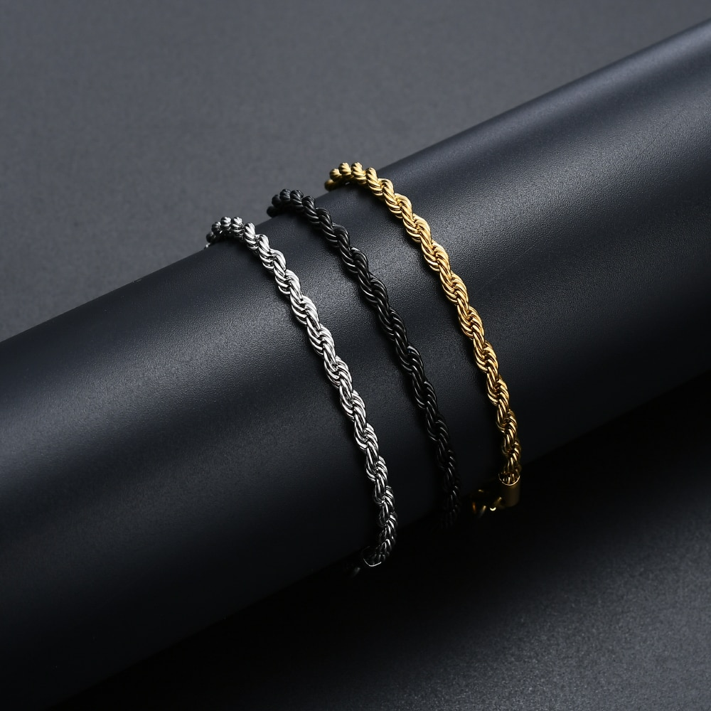 Low price 4MM 316L stainless steel gold black color twist chain bracelet fashion jewelry for men and