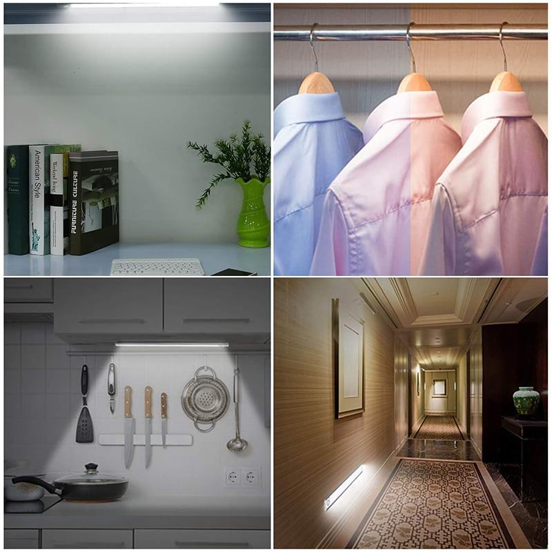 Wireless Control Touch Sensor LED Under Cabinet Lamp USB Recharge Closet Wall Lamp 3 Color Night Light Bedrrom Kitchen Wardrobe enlarge